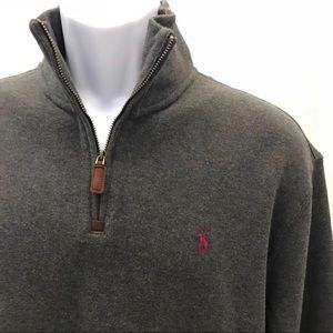 Men's Polo Half Zip 100% Cotton Pullover | Large